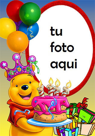 Pastel De Feliz Cumpleaños Con Osito De Peluche Marco Para Foto - Pastel De Feliz Cumpleaños Con Osito De Peluche Marco Para Foto