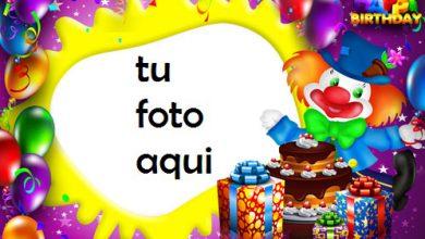 Photo of Payaso Con Pastel De Feliz Cumpleaños Marco Para Foto
