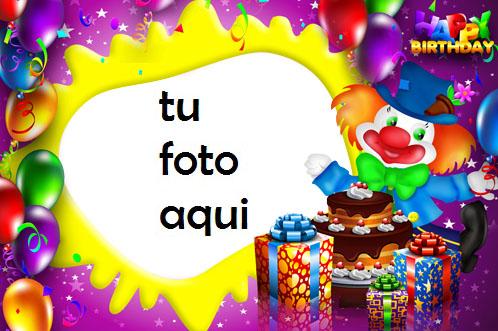 Payaso Con Pastel De Feliz Cumpleaños Marco Para Foto - Payaso Con Pastel De Feliz Cumpleaños Marco Para Foto