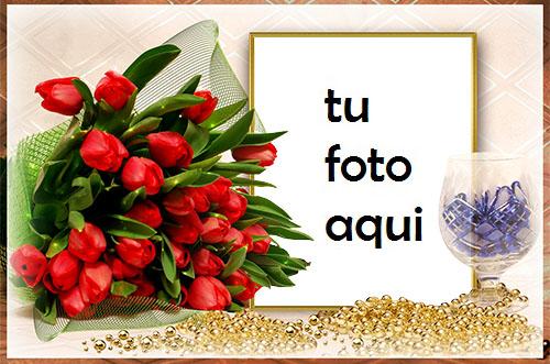 Ramo De Rosas Rojas Marco Para Foto - Ramo De Rosas Rojas Marco Para Foto