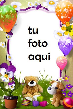 Tarta De Cumpleaños Con Regalos Y Oso Marco Para Foto - Tarta De Cumpleaños Con Regalos Y Oso Marco Para Foto