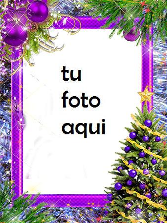 Árbol De Año Nuevo Con Decoraciones Violetas Marco Para Foto - Árbol De Año Nuevo Con Decoraciones Violetas Marco Para Foto