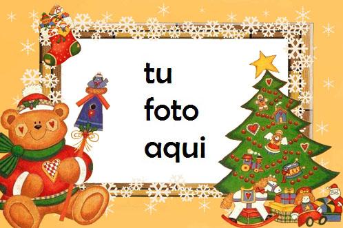 Árbol De Año Nuevo Con Un Adorable Osito De Peluche Saludos De Año Nuevo Marco Para Foto - Árbol De Año Nuevo Con Un Adorable Osito De Peluche Saludos De Año Nuevo Marco Para Foto
