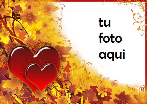 Ama y cae con grandes corazones rojos Marco Para Foto - Ama y cae con grandes corazones rojos Marco Para Foto