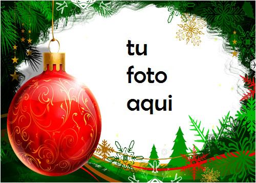 Bola Navidad Roja Con Marco Verde Hermoso Año Nuevo Marco Para Foto - Bola Navidad Roja Con Marco Verde Hermoso Año Nuevo Marco Para Foto
