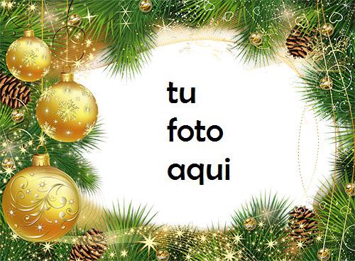 Bolas De Oro De Árbol De Año Nuevo Marco Para Foto - Bolas De Oro De Árbol De Año Nuevo Marco Para Foto