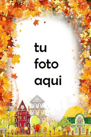 Ciudad de otoño flores de otoño Marco Para Foto - Ciudad de otoño flores de otoño Marco Para Foto