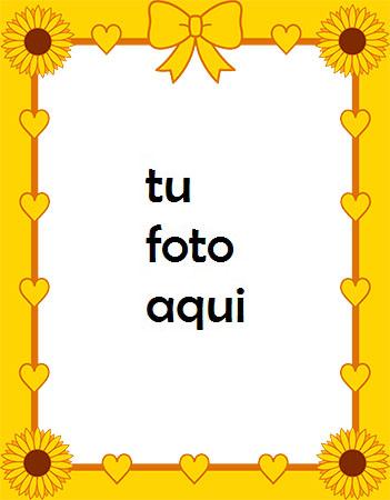 Corazón Amarillo Con Girasoles Marco Para Foto - Corazón Amarillo Con Girasoles Marco Para Foto