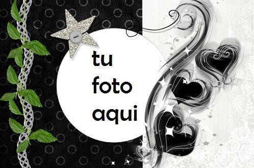 Corazones Maravillosos Y Estrella Plateada Marco Para Foto - Corazones Maravillosos Y Estrella Plateada Marco Para Foto