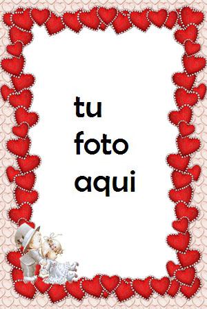 Delgados Corazones Rojos Para El Día De San Valentín Marco Para Foto - Delgados Corazones Rojos Para El Día De San Valentín Marco Para Foto