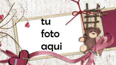 Photo of El Oso De Peluche Es Un Corazón Romántico. Marco Para Foto