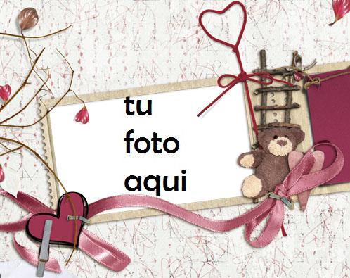 El Oso De Peluche Es Un Corazón Romántico. Marco Para Foto - El Oso De Peluche Es Un Corazón Romántico. Marco Para Foto