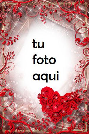El corazón rojo de rosas es muy hermoso Marco Para Foto - El corazón rojo de rosas es muy hermoso Marco Para Foto