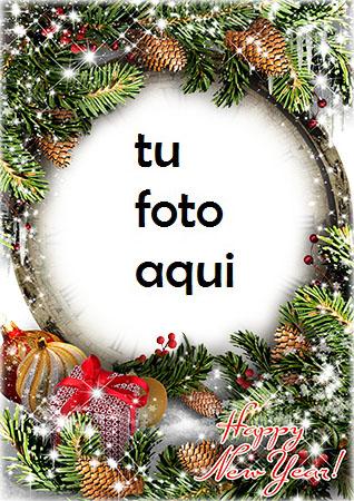 Feliz Año Nuevo Con Una Decoración Maravillosa. Marco Para Foto - Feliz Año Nuevo Con Una Decoración Maravillosa. Marco Para Foto