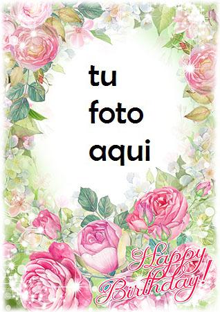 Feliz Cumpleaños Con Las Flores Rosadas Más Bellas Marco Para Foto - Feliz Cumpleaños Con Las Flores Rosadas Más Bellas Marco Para Foto