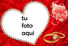 Hermoso Corazón Rojo Y Anillo De Bodas De Diamantes Marco Para Foto 220x150 - Hermoso Corazón Rojo Y Anillo De Bodas De Diamantes Marco Para Foto