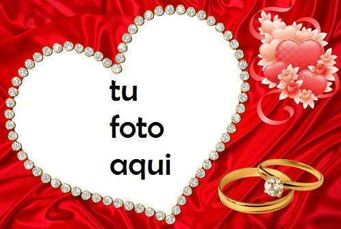 Hermoso Corazón Rojo Y Anillo De Bodas De Diamantes Marco Para Foto - Hermoso Corazón Rojo Y Anillo De Bodas De Diamantes Marco Para Foto