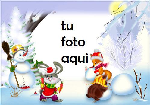 Hombre De Nieve Y Amigos Marcos Para Foto - Hombre De Nieve Y Amigos Marcos Para Foto