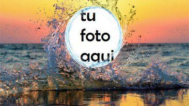 La Puesta De Sol Más Hermosa En La Playa. Marco Para Foto 390x220 - La Puesta De Sol Más Hermosa En La Playa. Marco Para Foto