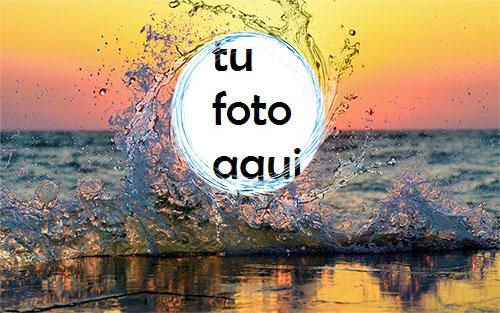 La Puesta De Sol Más Hermosa En La Playa. Marco Para Foto - La Puesta De Sol Más Hermosa En La Playa. Marco Para Foto