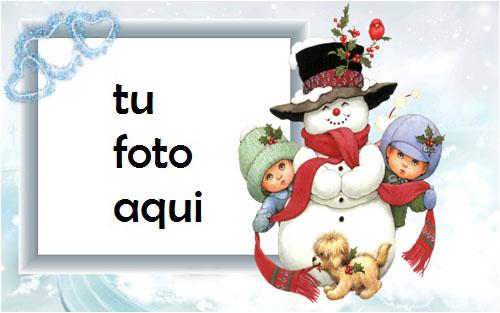 Muñeco De Nieve Con Niños Marco Para Foto - Muñeco De Nieve Con Niños Marco Para Foto