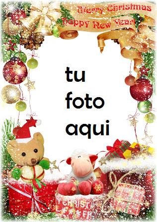 Oso Con Feliz Navidad Marco Para Foto - Oso Con Feliz Navidad Marco Para Foto