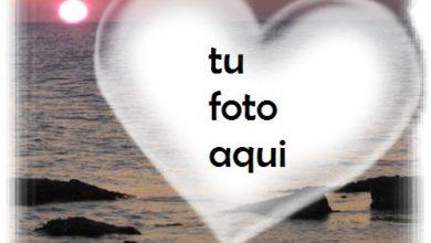 Photo of Puesta De Sol Y Corazón Sobre El Mar Marco Para Foto