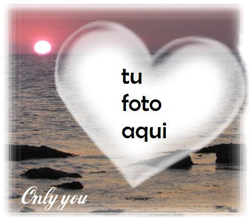 Puesta De Sol Y Corazón Sobre El Mar Marco Para Foto - Puesta De Sol Y Corazón Sobre El Mar Marco Para Foto