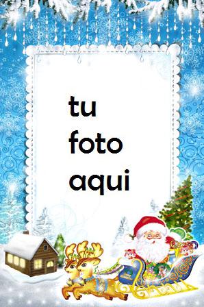 Santa Claus Se Apresura A Vacaciones Marco Para Foto - Santa Claus Se Apresura A Vacaciones Marco Para Foto