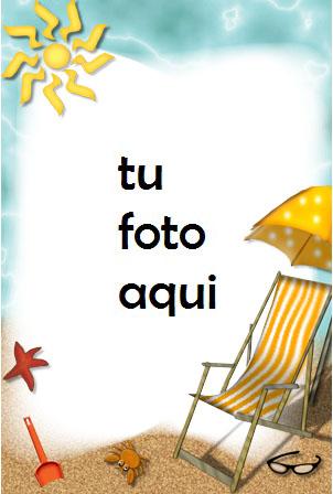 Silla De Mar Pala Balde Y Playa. Marco Para Foto - Silla De Mar Pala Balde Y Playa. Marco Para Foto