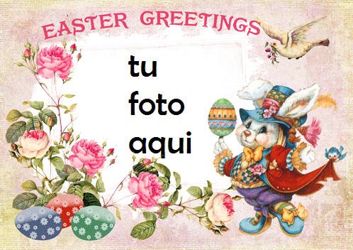 Tarjeta De Saludos De Pascua Vintage Marco Para Foto - Tarjeta De Saludos De Pascua Vintage Marco Para Foto