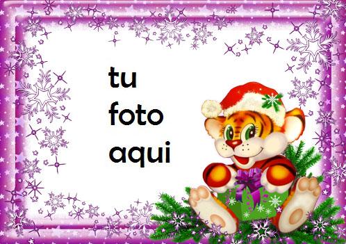 navidad marcos año divertido del tigre marco para foto - navidad marcos año divertido del tigre marco para foto