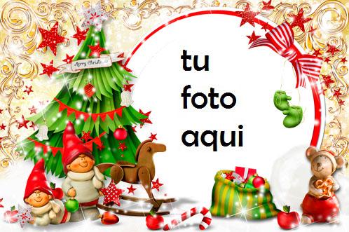 navidad marcos gnomos debajo del árbol de navidad marco para foto - navidad marcos gnomos debajo del árbol de navidad marco para foto