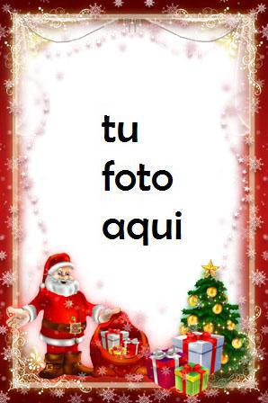 navidad marcos santa árbol de navidad y regalos marco para foto - navidad marcos santa árbol de navidad y regalos marco para foto