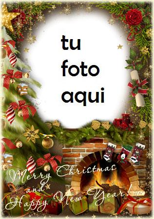 navidad marcos vacaciones junto a la chimenea marco para foto - navidad marcos vacaciones junto a la chimenea marco para foto