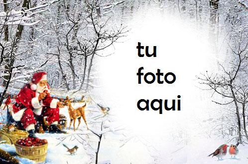 Marco Para Foto Amable Santa En El Bosque Profundo Invierno Marcos 1 - Marco Para Foto Amable Santa En El Bosque Profundo Invierno Marcos