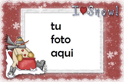Marco Para Foto Amo La Nieve Invierno Marcos 1 - Marco Para Foto Amo La Nieve Invierno Marcos