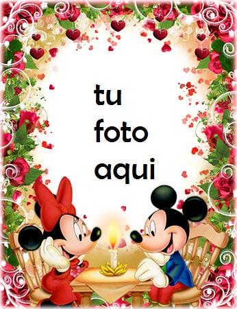 Marco Para Foto Cena Romántica De Mickey Y Minnie Mouse Amor Marcos - Marco Para Foto Cena Romántica De Mickey Y Minnie Mouse Amor Marcos