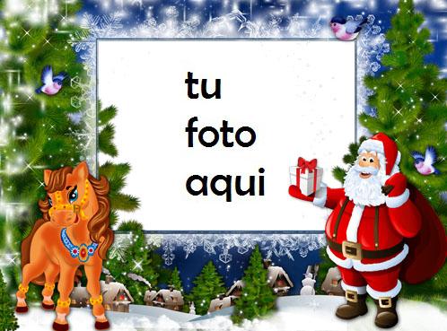 Marco Para Foto Ciervo Y Santa Claus Niños Marcos - Marco Para Foto Ciervo Y Santa Claus Niños Marcos
