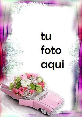 Marco Para Foto Coche Rosa Lleno De Flores Amor Marcos - Marco Para Foto Coche Rosa Lleno De Flores Amor Marcos