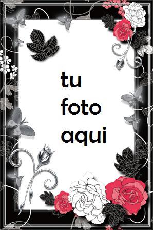 Marco Para Foto Retro Rojo Blanco Y Negro Amor Marcos - Marco Para Foto Retro Rojo Blanco Y Negro Amor Marcos