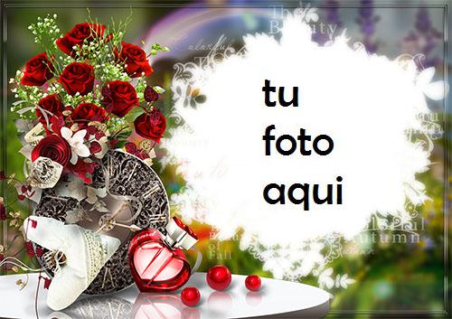 Marco Para Foto Rosas Rojas Con Perfume En Forma De Corazón Amor Marcos - Marco Para Foto Rosas Rojas Con Perfume En Forma De Corazón Amor Marcos