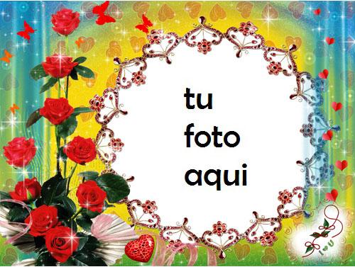 Marco Para Foto Rosas Y Mariposas Amor Marcos - Marco Para Foto Rosas Y Mariposas Amor Marcos