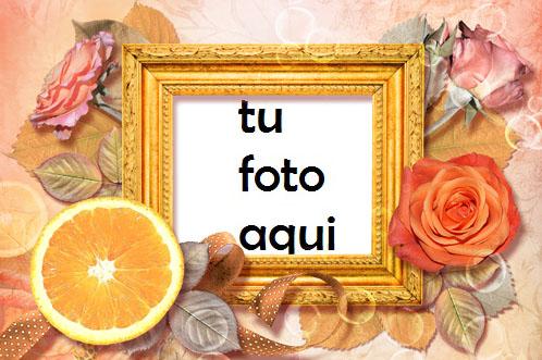 Marco Para Foto Rosas Y Naranja Amor Marcos - Marco Para Foto Rosas Y Naranja Amor Marcos