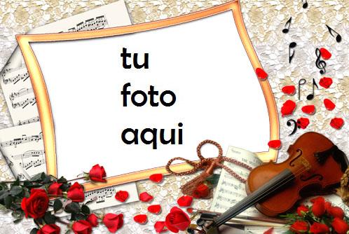 Marco Para Foto Rosas Y Violín Amor Marcos - Marco Para Foto Rosas Y Violín Amor Marcos