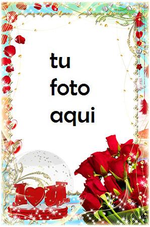 Marco Para Foto Te Amo Ramo De Rosas Rojas Amor Marcos - Marco Para Foto Te Amo Ramo De Rosas Rojas Amor Marcos