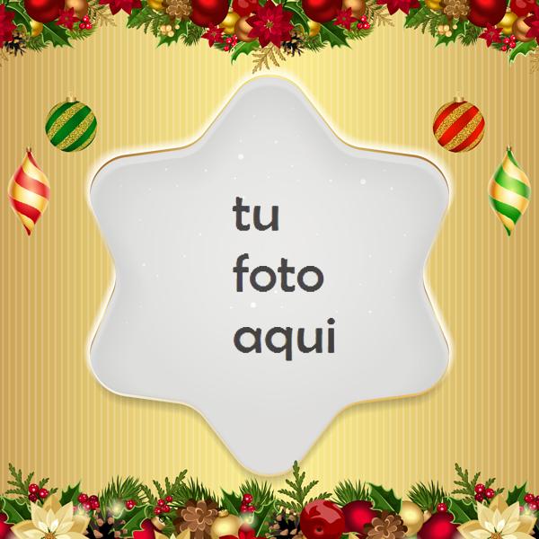 Marco Para Foto Estrella De Navidad Dorada Navidad Marcos - Marco Para Foto Estrella De Navidad Dorada Navidad Marcos