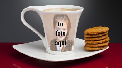 Photo of taza de té con marco de fotos
