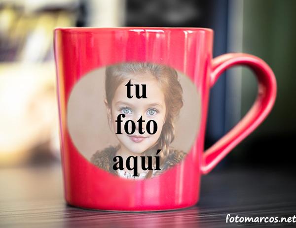 taza romántica roja del marco de la foto - taza romántica roja del marco de la foto