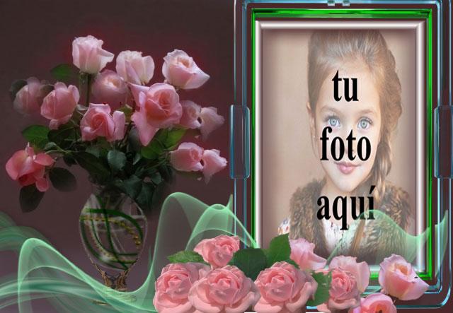 Marco Verde Oscuro Con Ramo De Rosas Rosadas Foto Marcos - Marco Verde Oscuro Con Ramo De Rosas Rosadas Foto Marcos